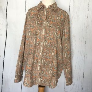 Jones NY signature button down paisley blouse
